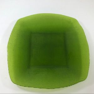 Green Square Glass Serving Platter